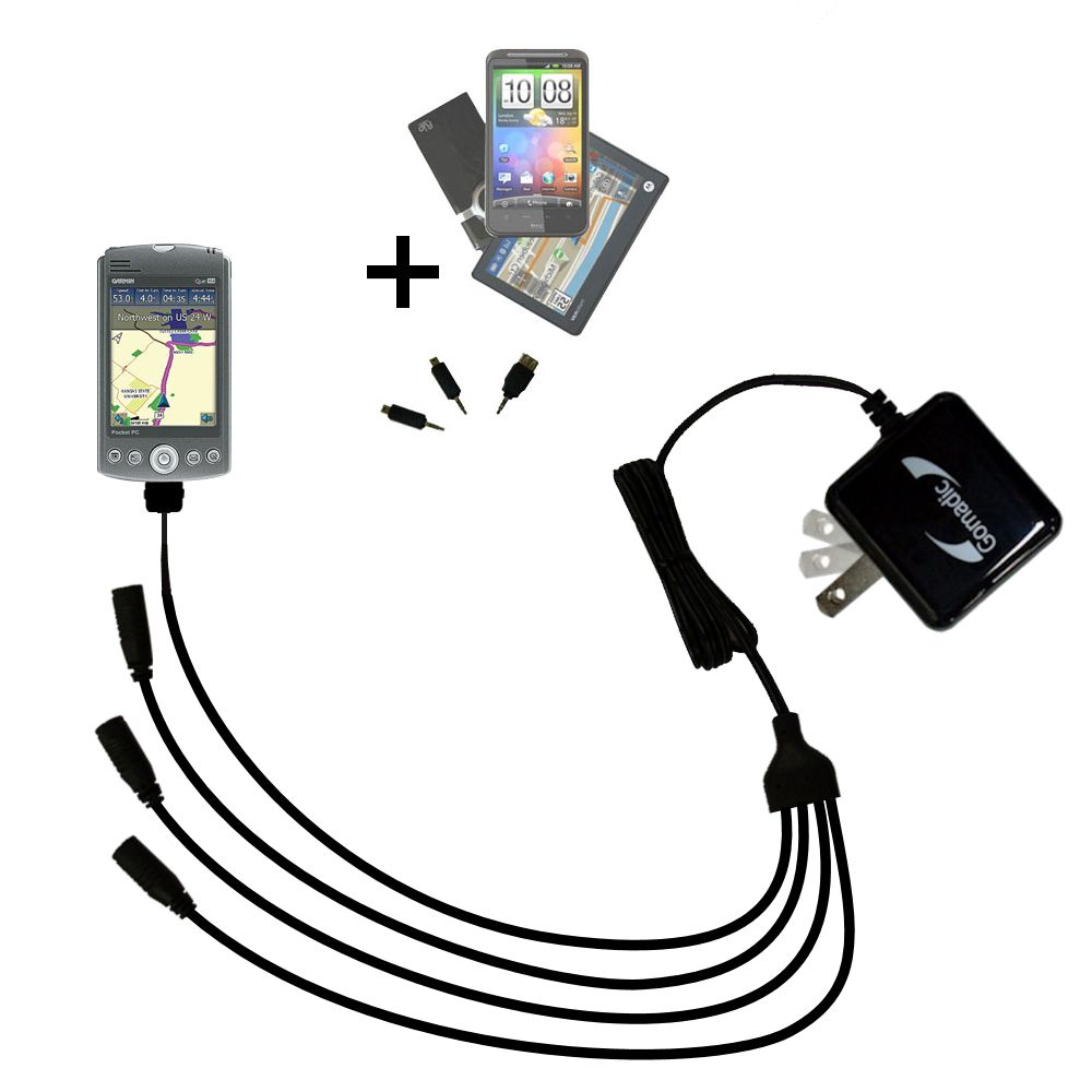 Quad output Wall Charger includes tip for the Garmin iQue M5