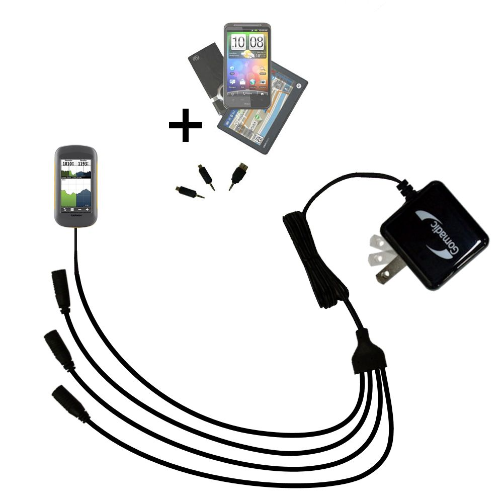 Quad output Wall Charger includes tip for the Garmin Montana 600 650 650t