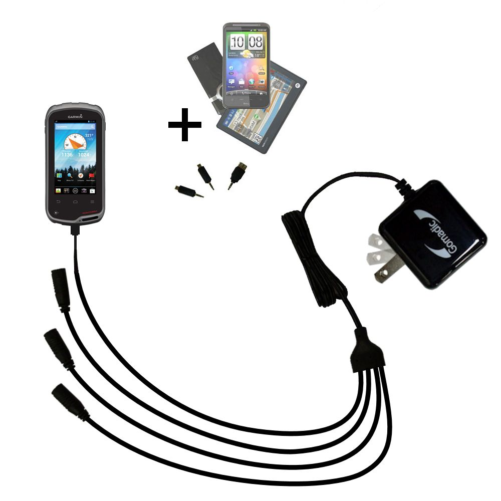 Quad output Wall Charger includes tip for the Garmin Monterra
