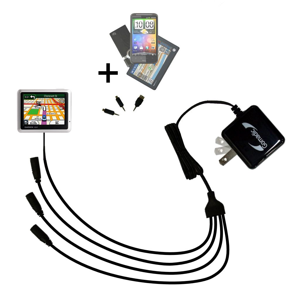 Quad output Wall Charger includes tip for the Garmin Nuvi 1240