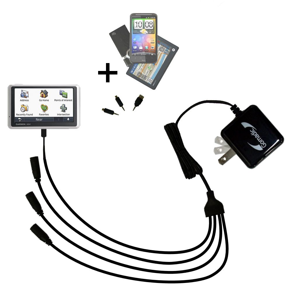 Quad output Wall Charger includes tip for the Garmin Nuvi 1300