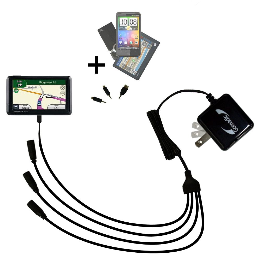 Quad output Wall Charger includes tip for the Garmin Nuvi 1390T