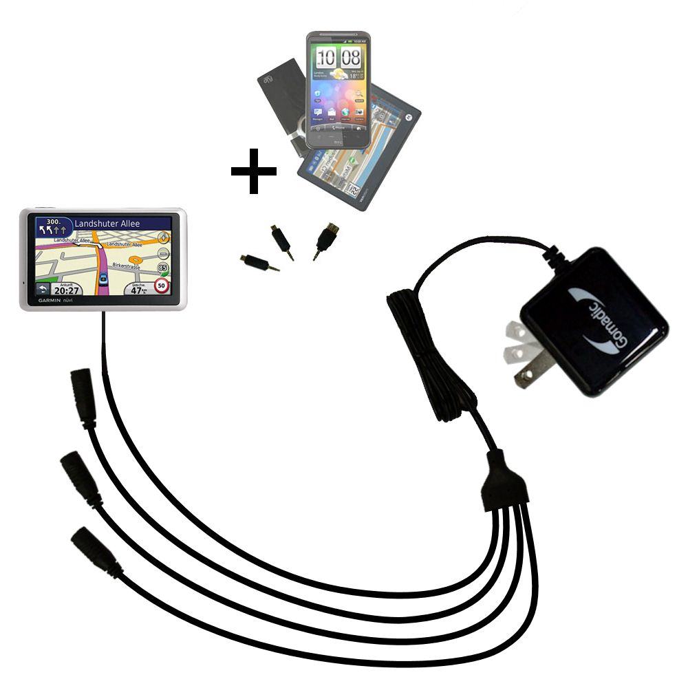 Quad output Wall Charger includes tip for the Garmin Nuvi 1390Tpro