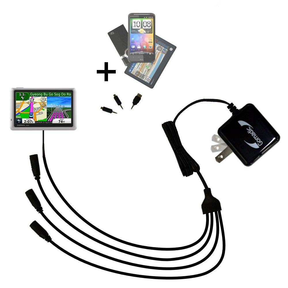 Quad output Wall Charger includes tip for the Garmin nuvi 1490LMT 1490T