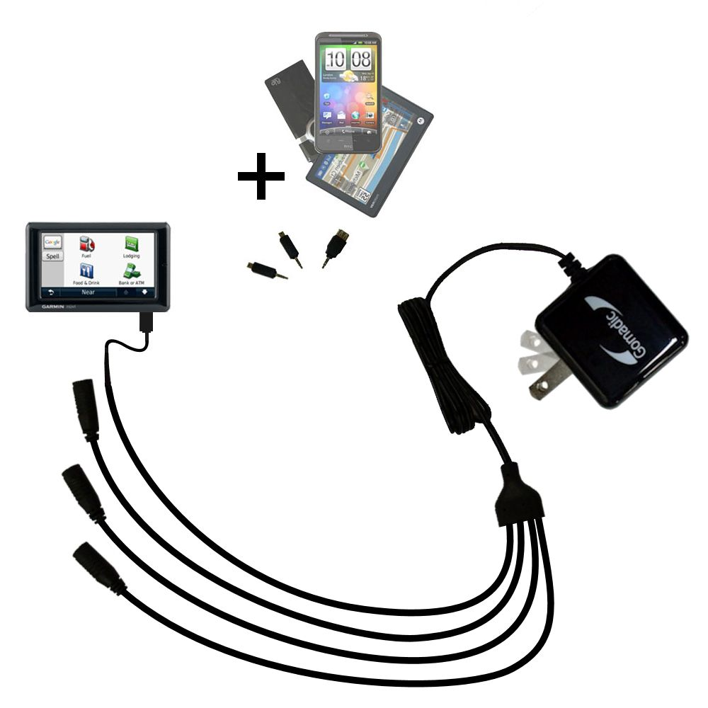 Quad output Wall Charger includes tip for the Garmin Nuvi 1690 1695