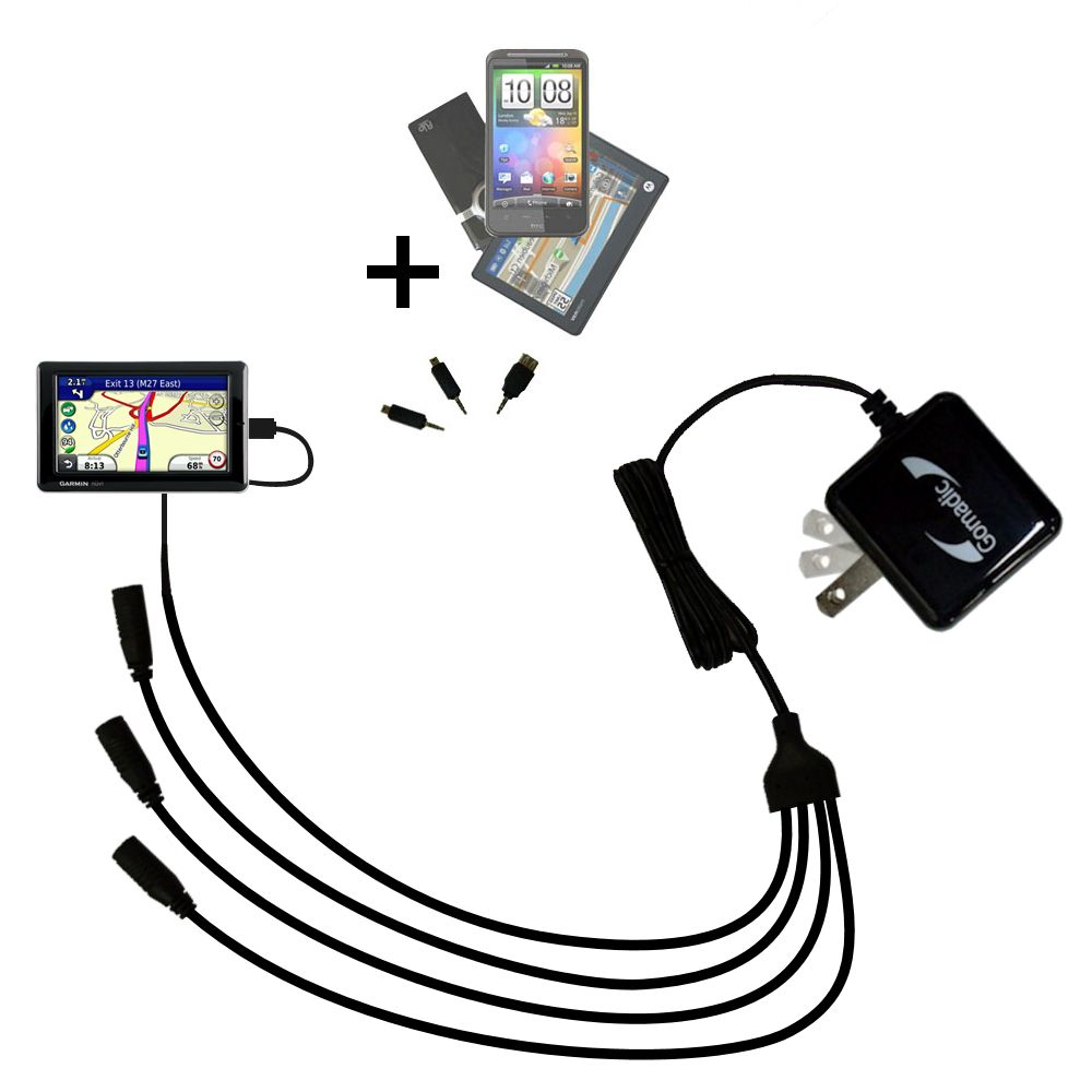Quad output Wall Charger includes tip for the Garmin Nuvi 1695