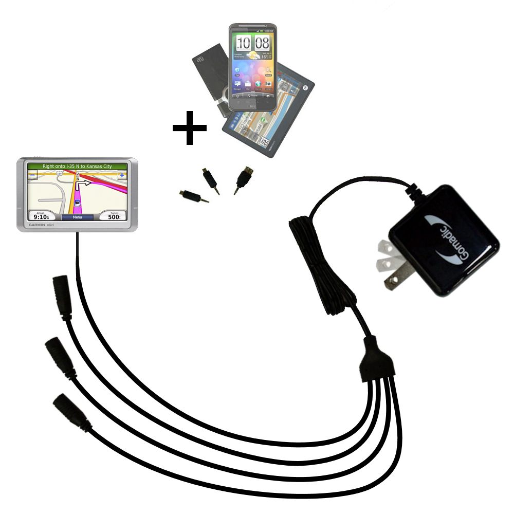 Quad output Wall Charger includes tip for the Garmin nuvi 205WT