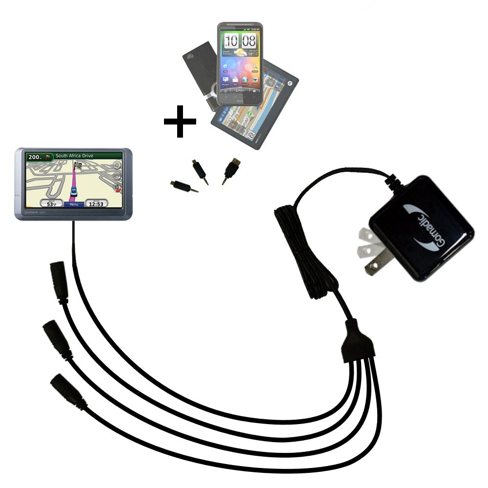 Quad output Wall Charger includes tip for the Garmin Nuvi 215W 215T