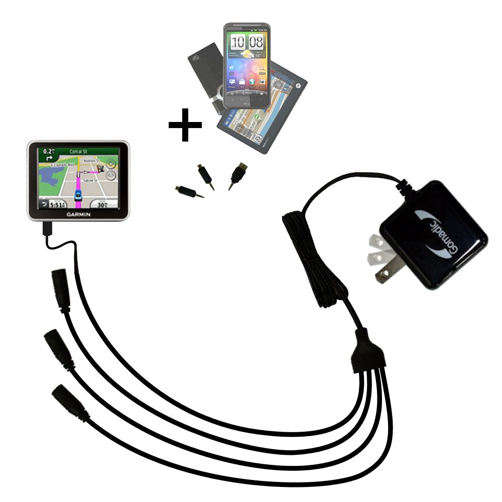Quad output Wall Charger includes tip for the Garmin Nuvi 2200 2240 2250