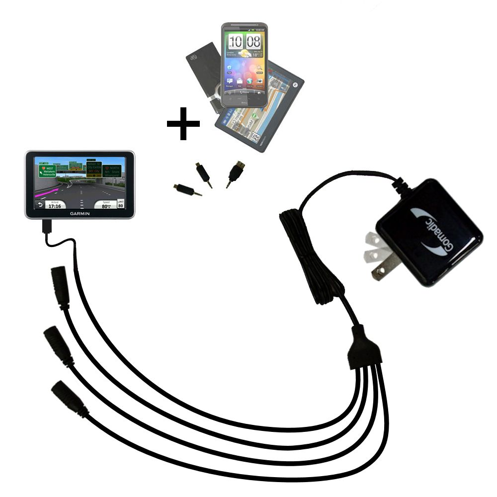Quad output Wall Charger includes tip for the Garmin Nuvi 2350
