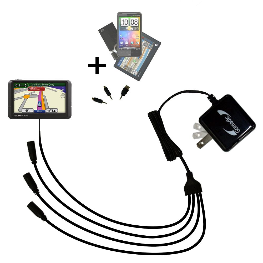 Quad output Wall Charger includes tip for the Garmin Nuvi 245 245T 245WT