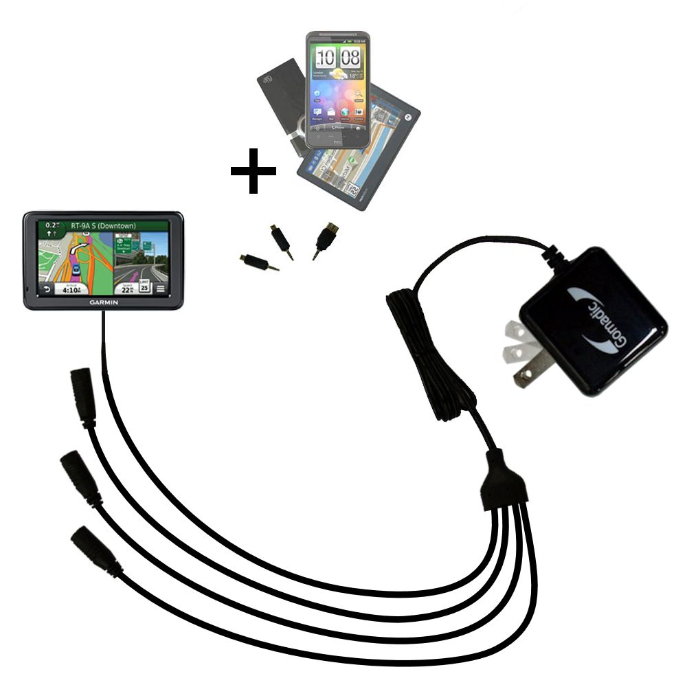 Quad output Wall Charger includes tip for the Garmin Nuvi 2455 2475LT 2495LMT 2455LMT