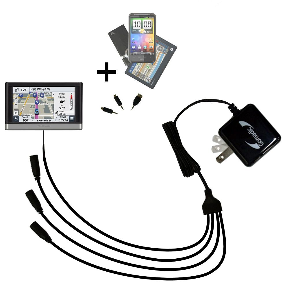 Quad output Wall Charger includes tip for the Garmin nuvi 2457 / 2497 LMT
