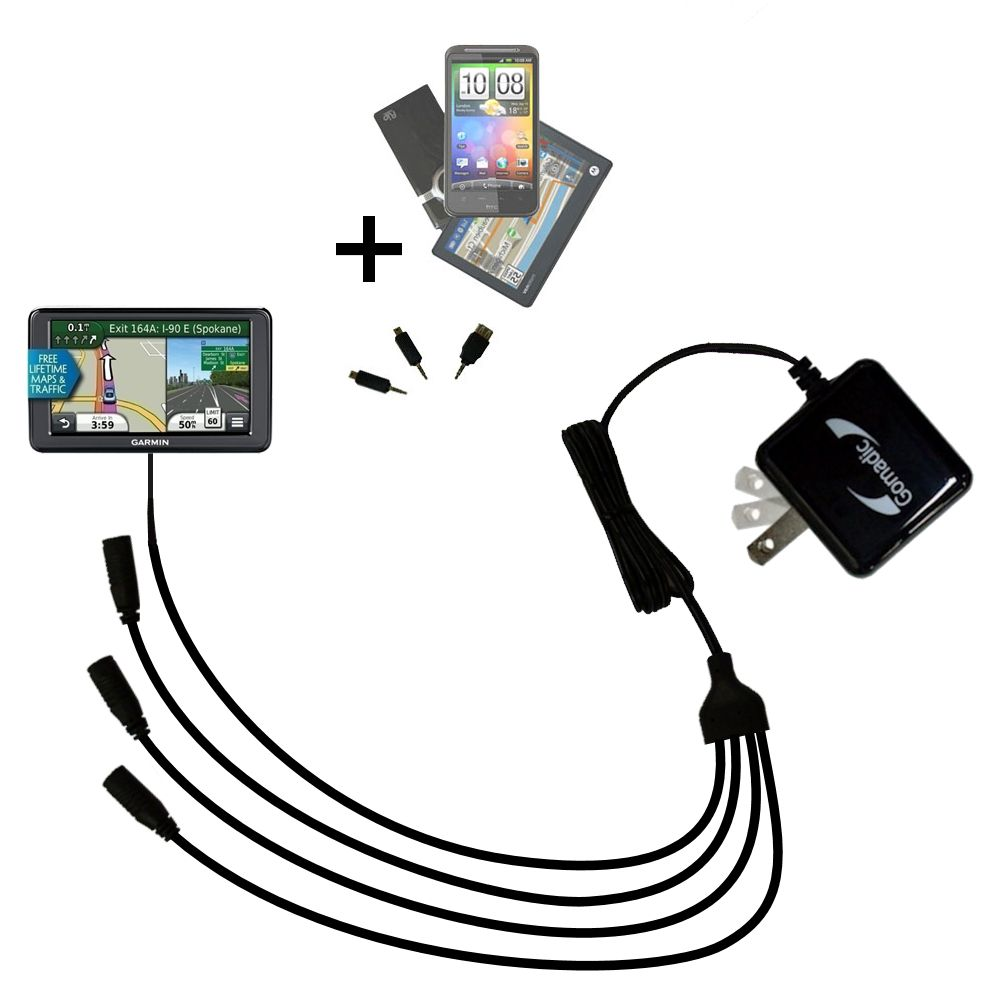 Quad output Wall Charger includes tip for the Garmin Nuvi 245T