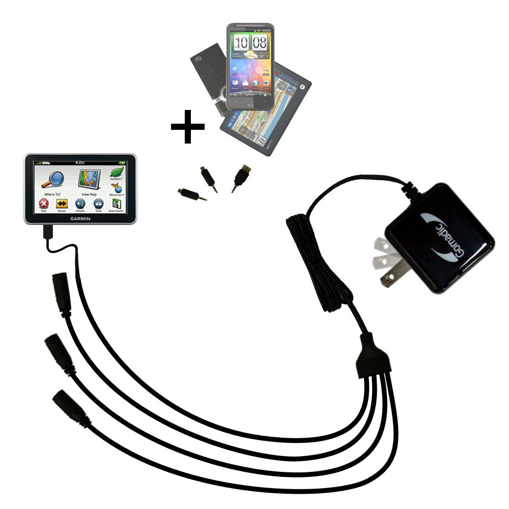 Quad output Wall Charger includes tip for the Garmin Nuvi 2460 2450