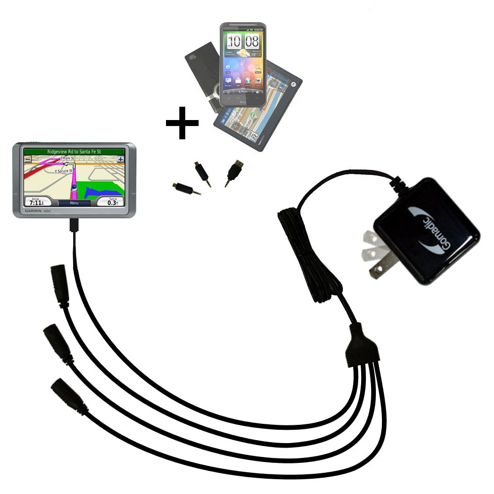 Quad output Wall Charger includes tip for the Garmin Nuvi 250 250W 250WT