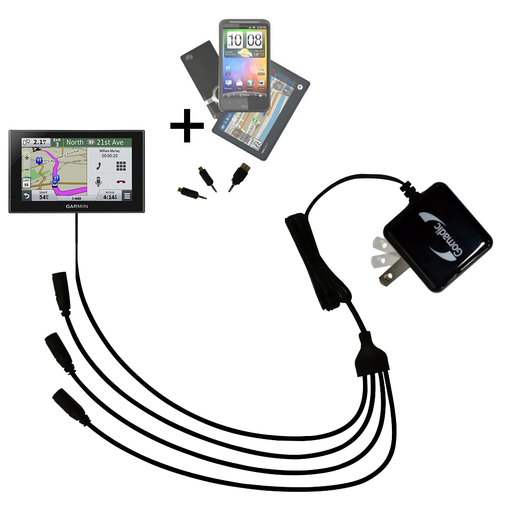 Quad output Wall Charger includes tip for the Garmin nuvi 2539 / 2559 LMT