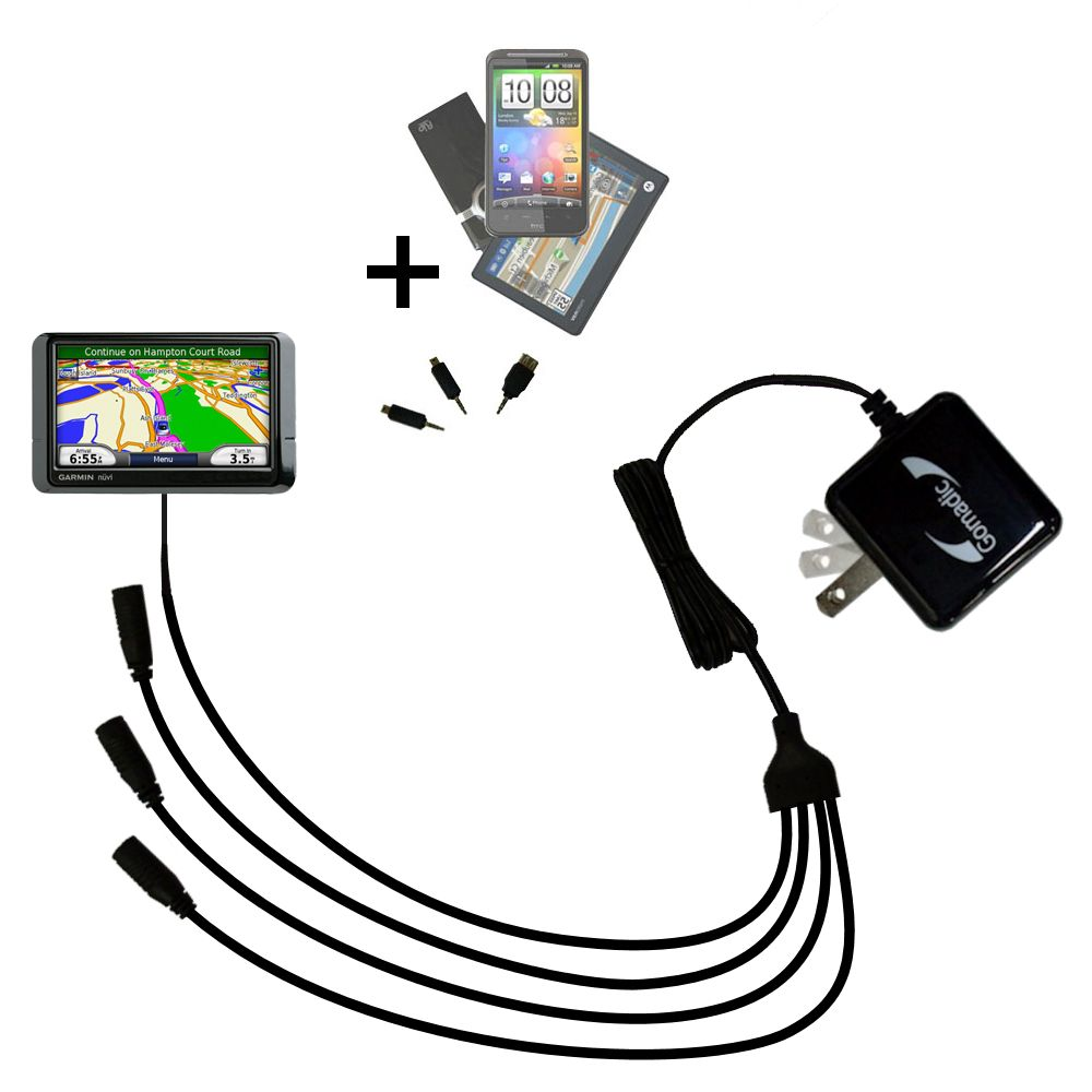 Quad output Wall Charger includes tip for the Garmin Nuvi 255