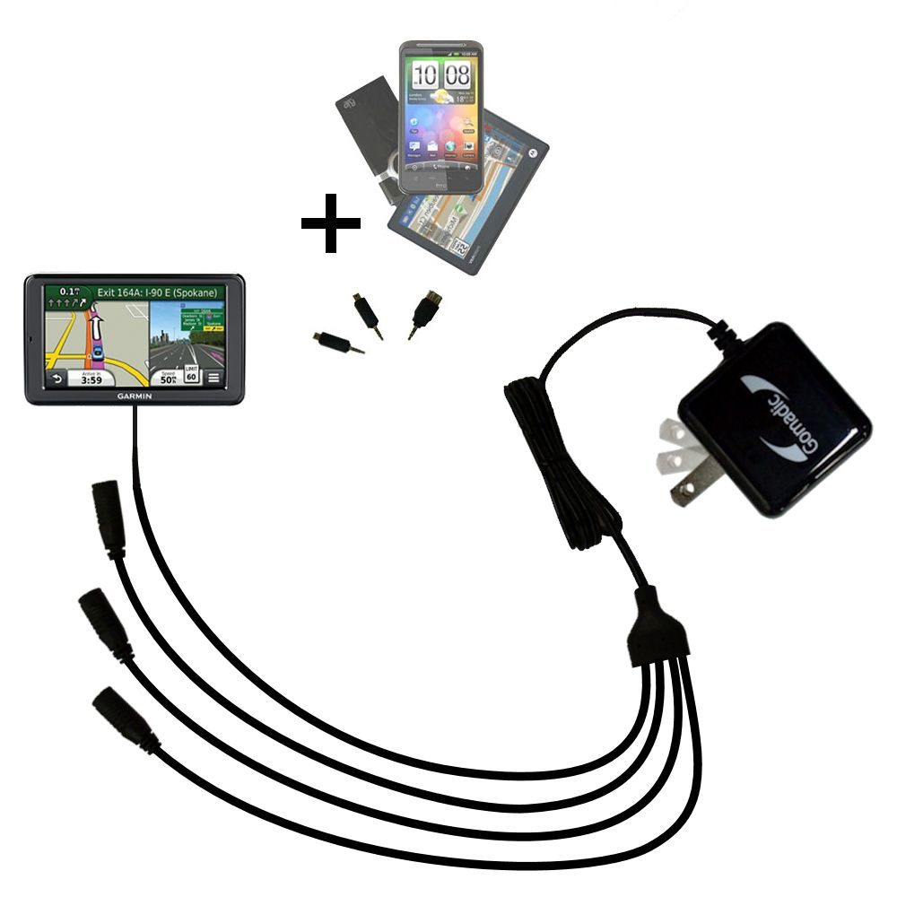 Quad output Wall Charger includes tip for the Garmin Nuvi 2555 2595 LMT