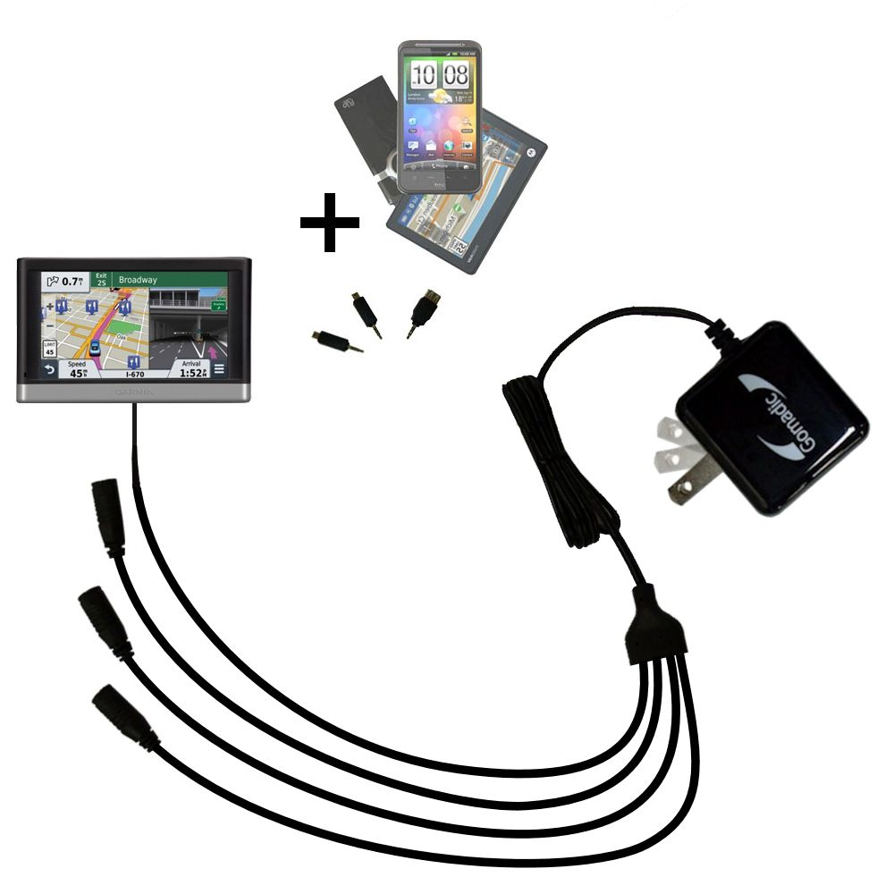 Quad output Wall Charger includes tip for the Garmin nuvi 2557 / 2577 / 2597 LMT