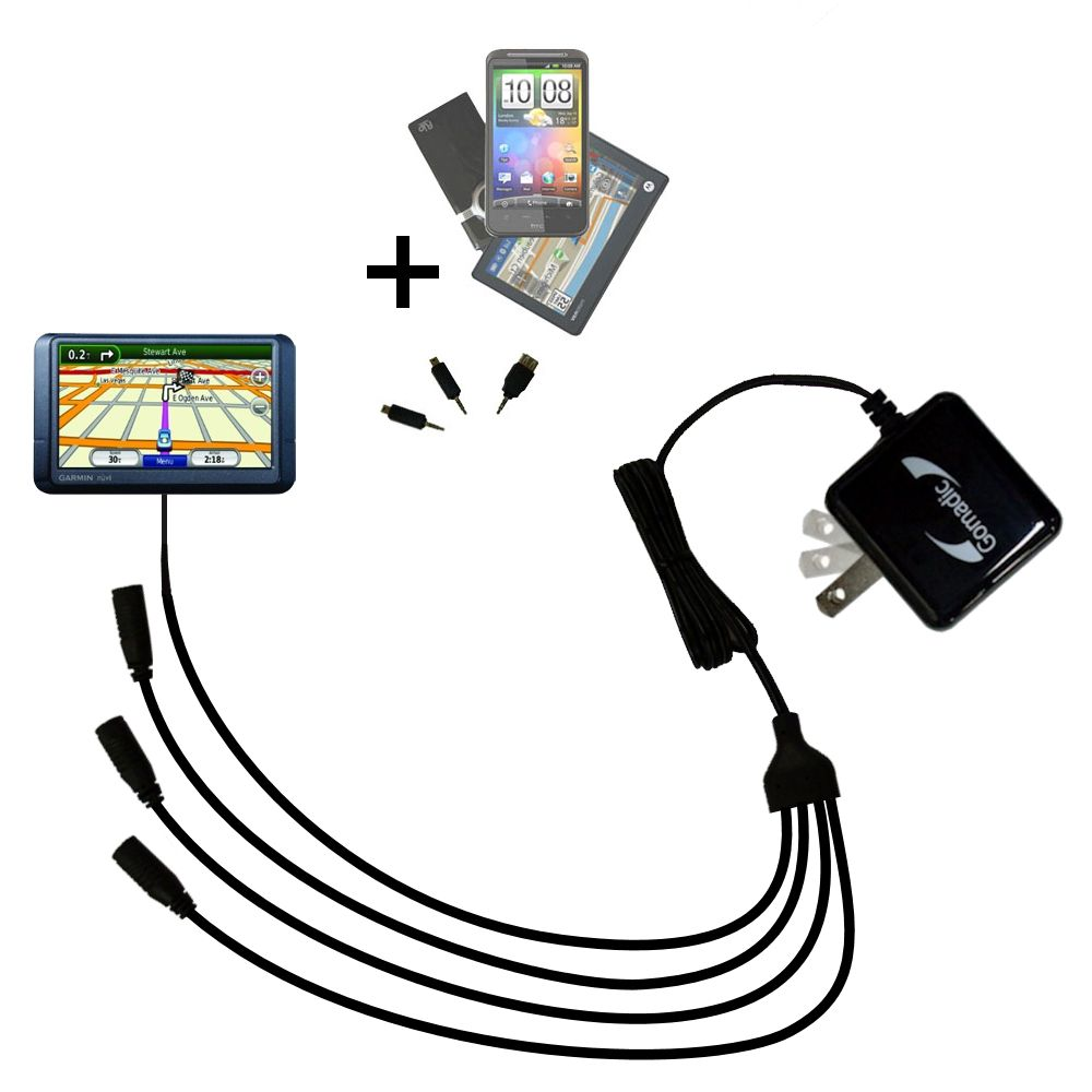 Quad output Wall Charger includes tip for the Garmin nuvi 255WT