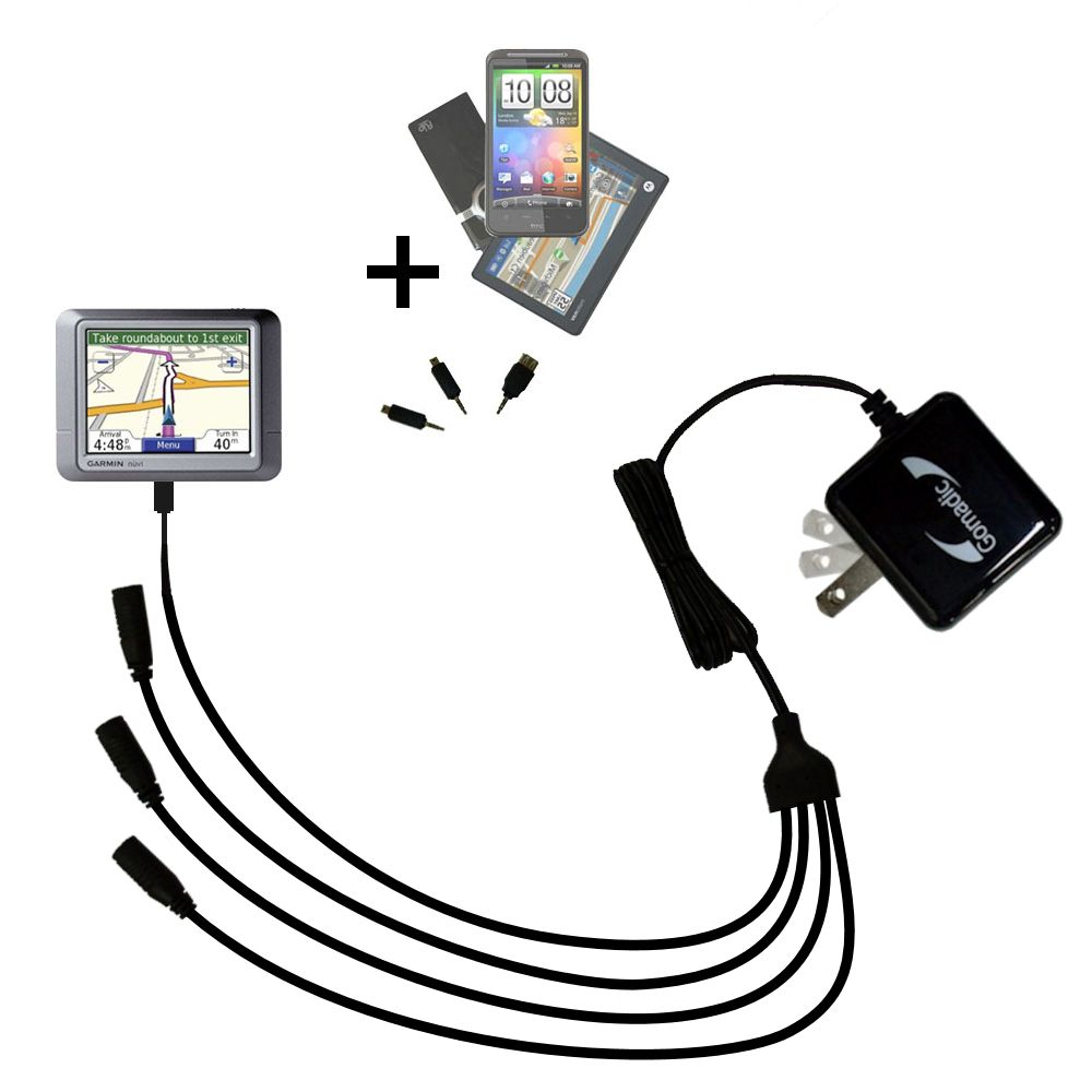 Quad output Wall Charger includes tip for the Garmin Nuvi 260