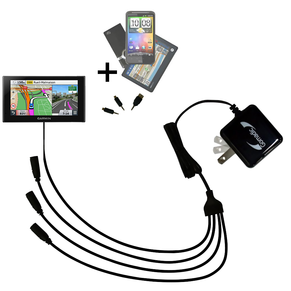 Quad output Wall Charger includes tip for the Garmin nuvi 2669 / 2689 LMT