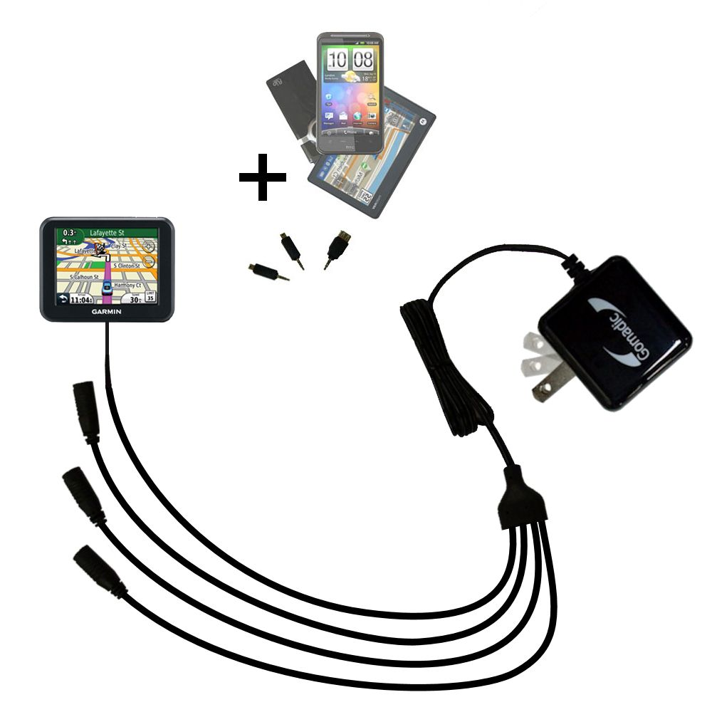 Quad output Wall Charger includes tip for the Garmin Nuvi 30