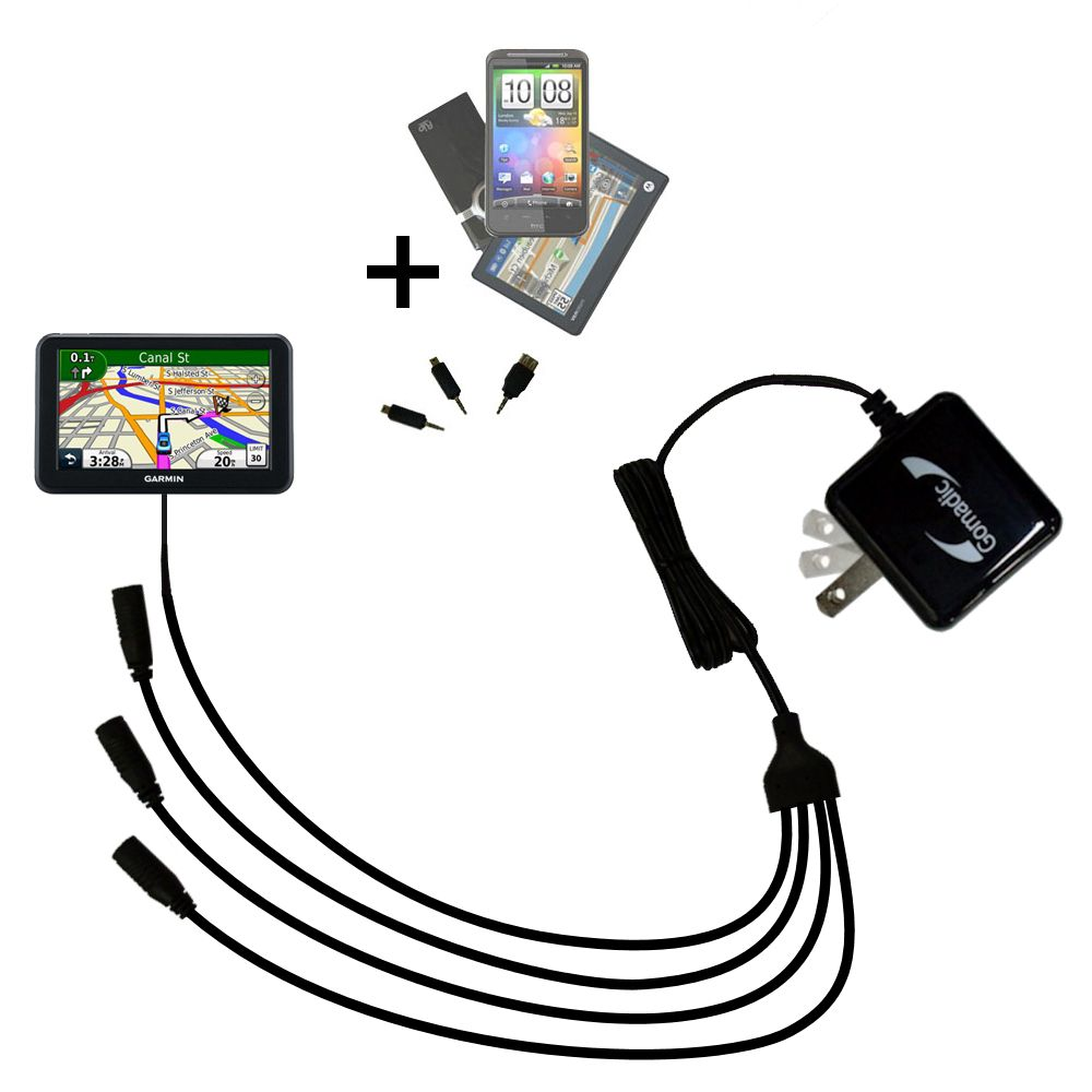 Quad output Wall Charger includes tip for the Garmin Nuvi 3450 3450LM