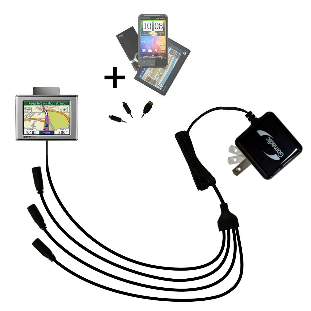 Quad output Wall Charger includes tip for the Garmin Nuvi 350