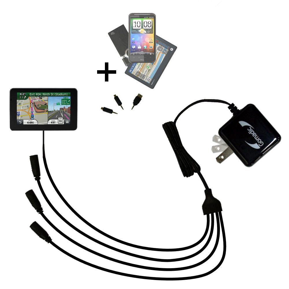 Quad output Wall Charger includes tip for the Garmin Nuvi 3550