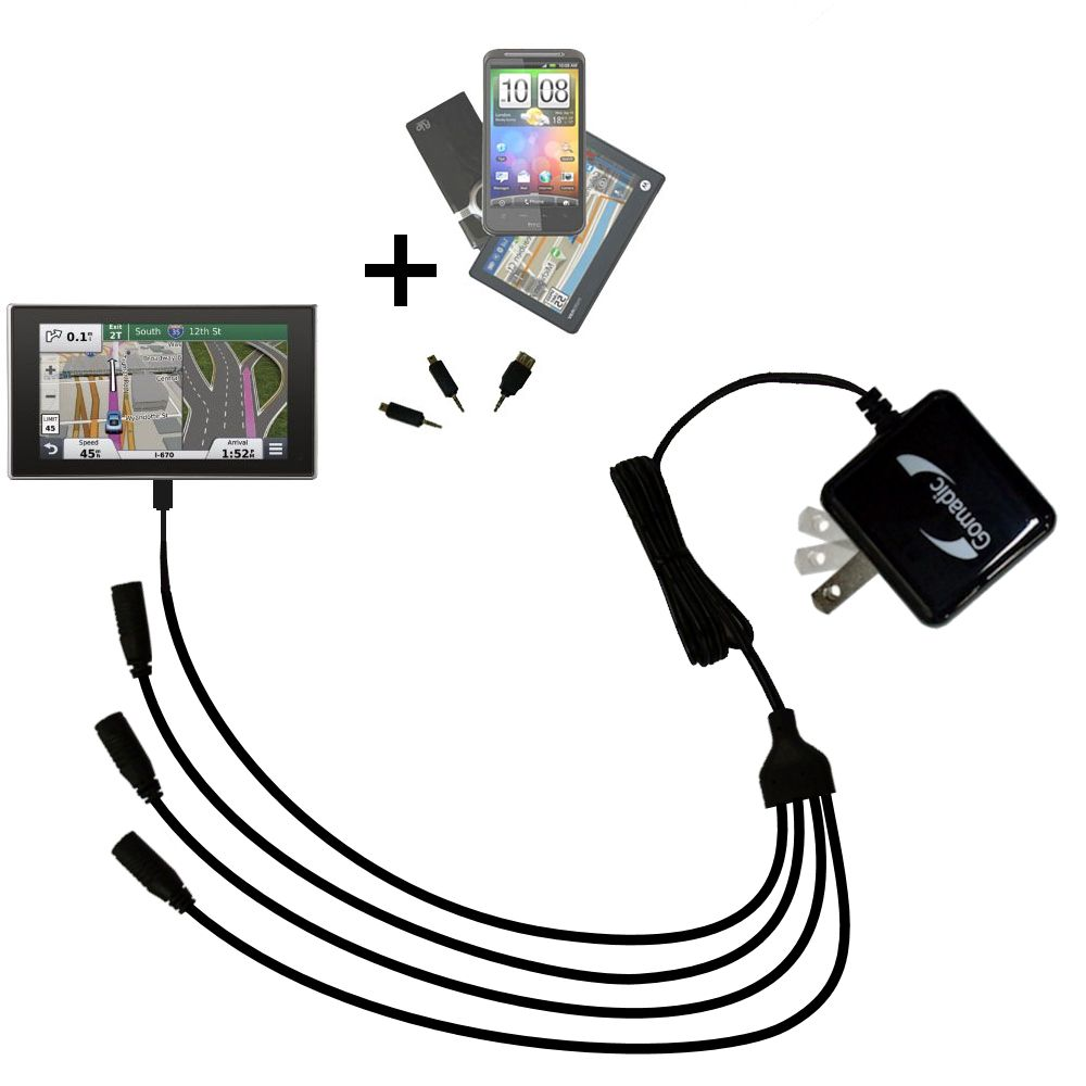 Quad output Wall Charger includes tip for the Garmin nuvi 3597 LMTHD