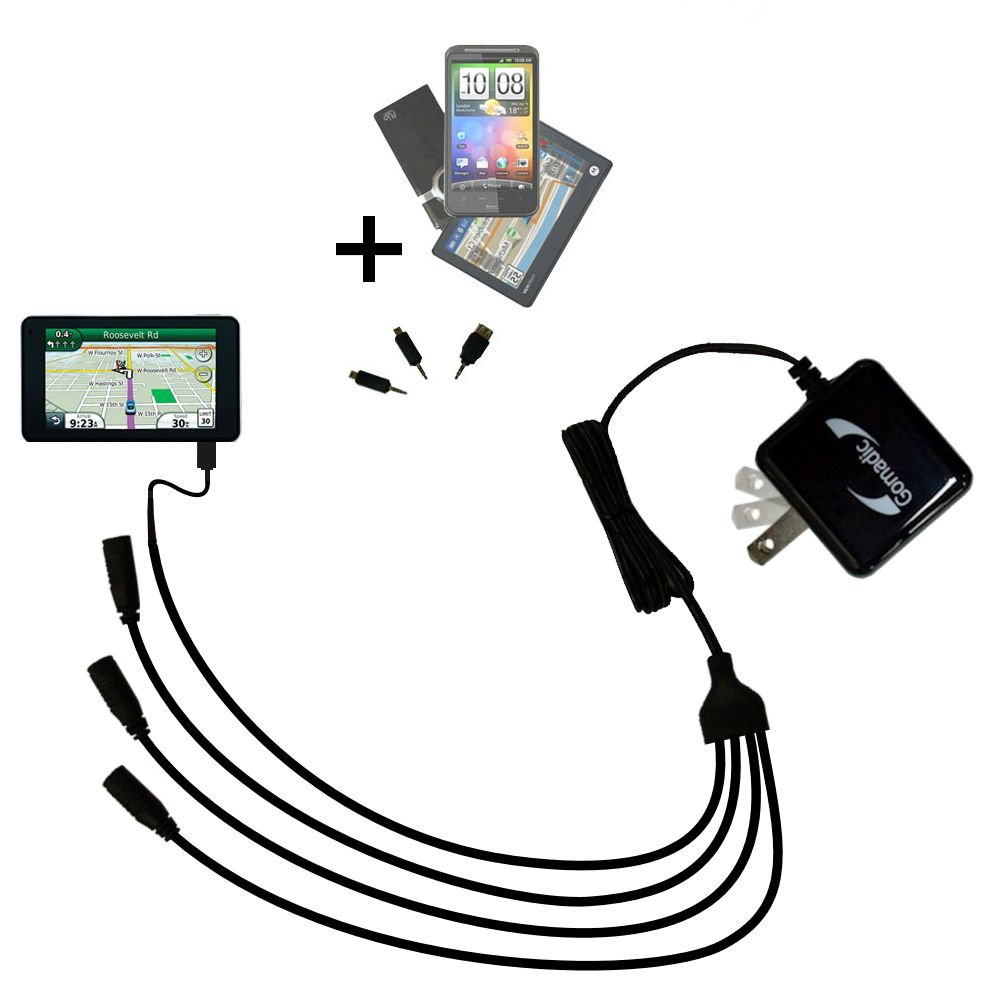 Quad output Wall Charger includes tip for the Garmin Nuvi 3790T 3790LMT