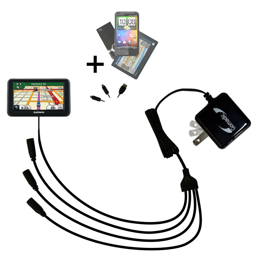 Quad output Wall Charger includes tip for the Garmin Nuvi 40 40LM
