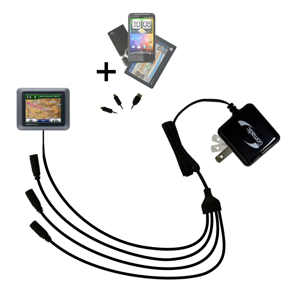 Quad output Wall Charger includes tip for the Garmin Nuvi 500