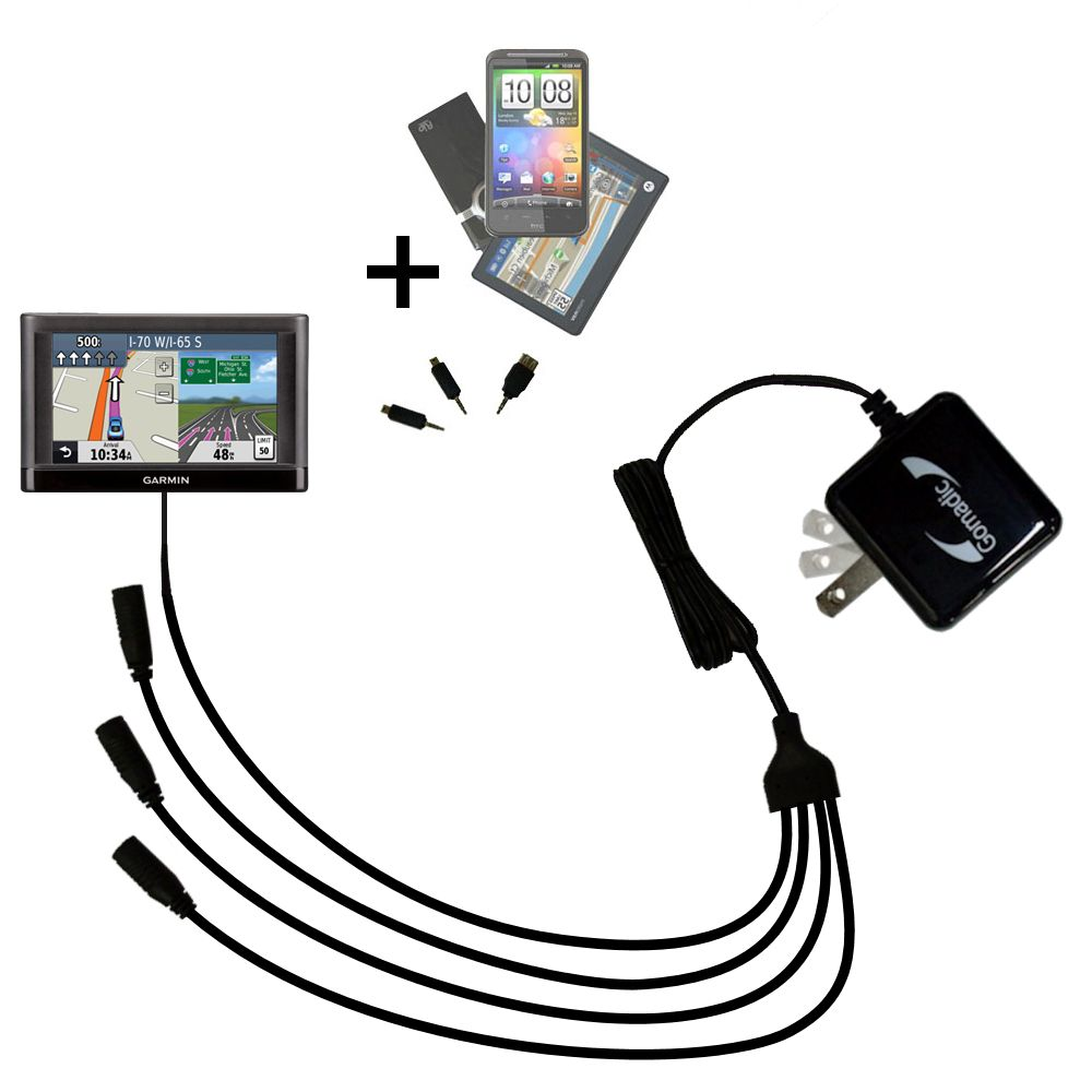 Quad output Wall Charger includes tip for the Garmin nuvi 52 / nuvi 54