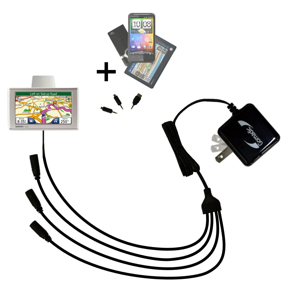 Quad output Wall Charger includes tip for the Garmin Nuvi 610