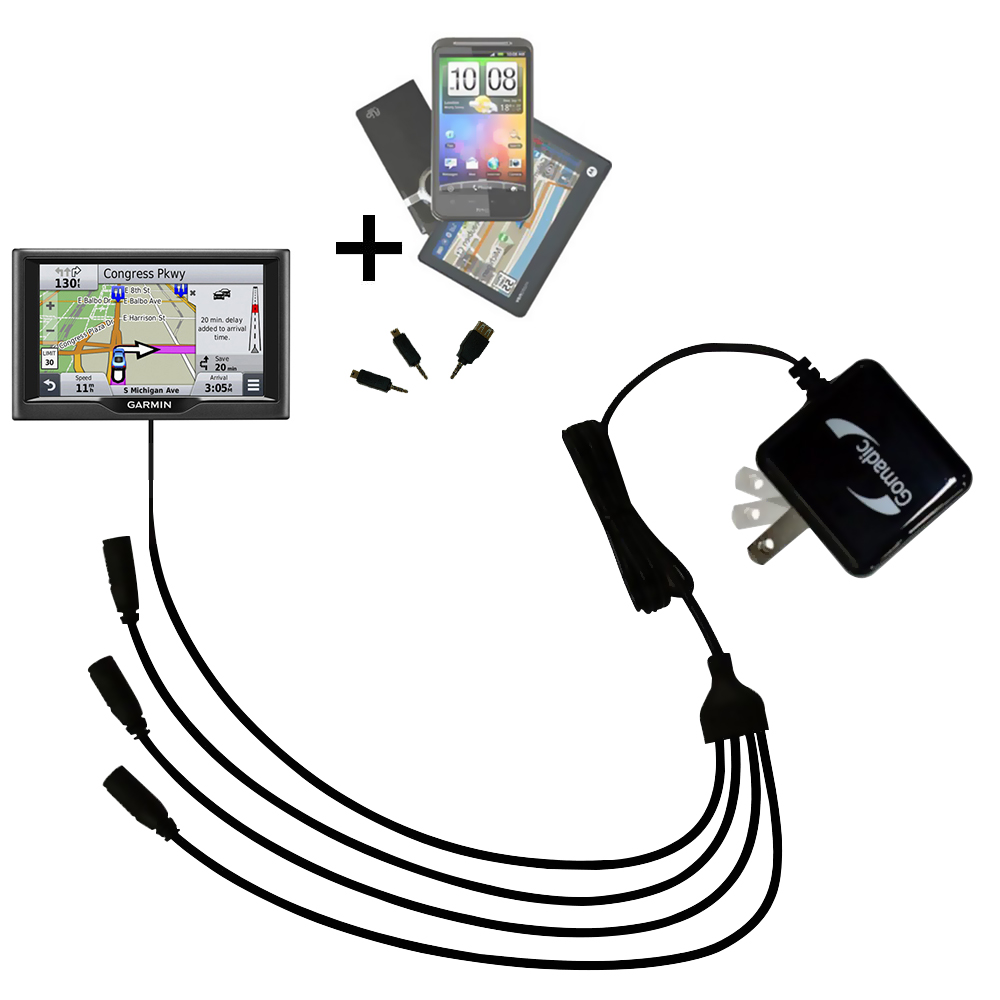 Quad output Wall Charger includes tip for the Garmin nuvi 67 / 68 LM LMT