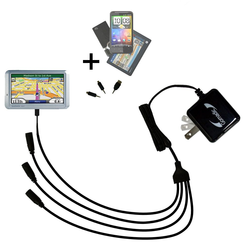Quad output Wall Charger includes tip for the Garmin Nuvi 710