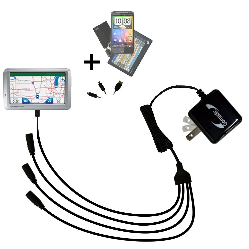Quad output Wall Charger includes tip for the Garmin Nuvi 750
