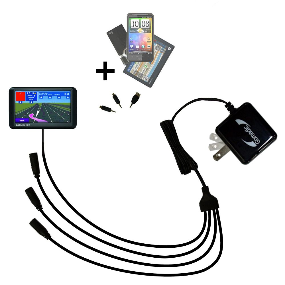 Quad output Wall Charger includes tip for the Garmin Nuvi 760 760T