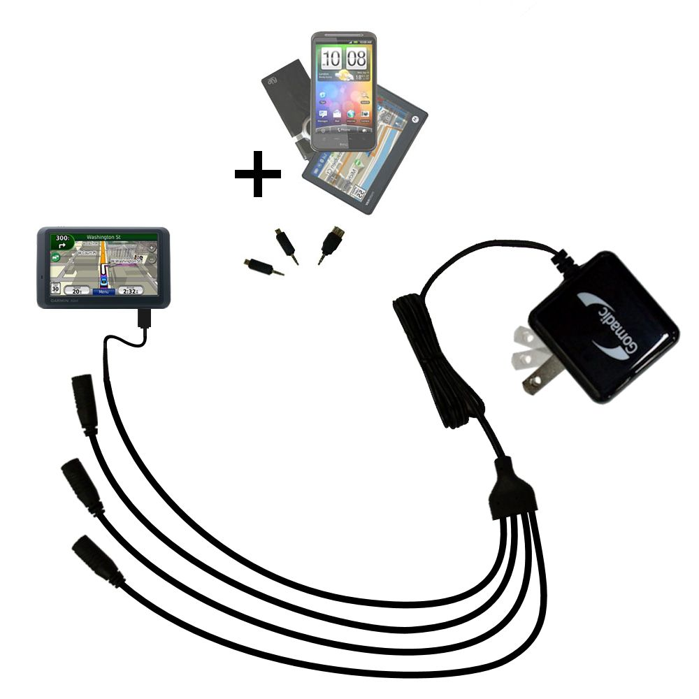 Quad output Wall Charger includes tip for the Garmin Nuvi 765TFM