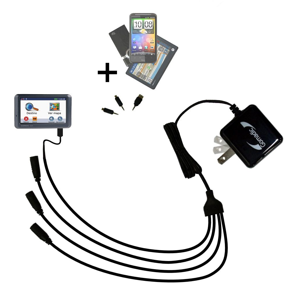 Quad output Wall Charger includes tip for the Garmin Nuvi 770