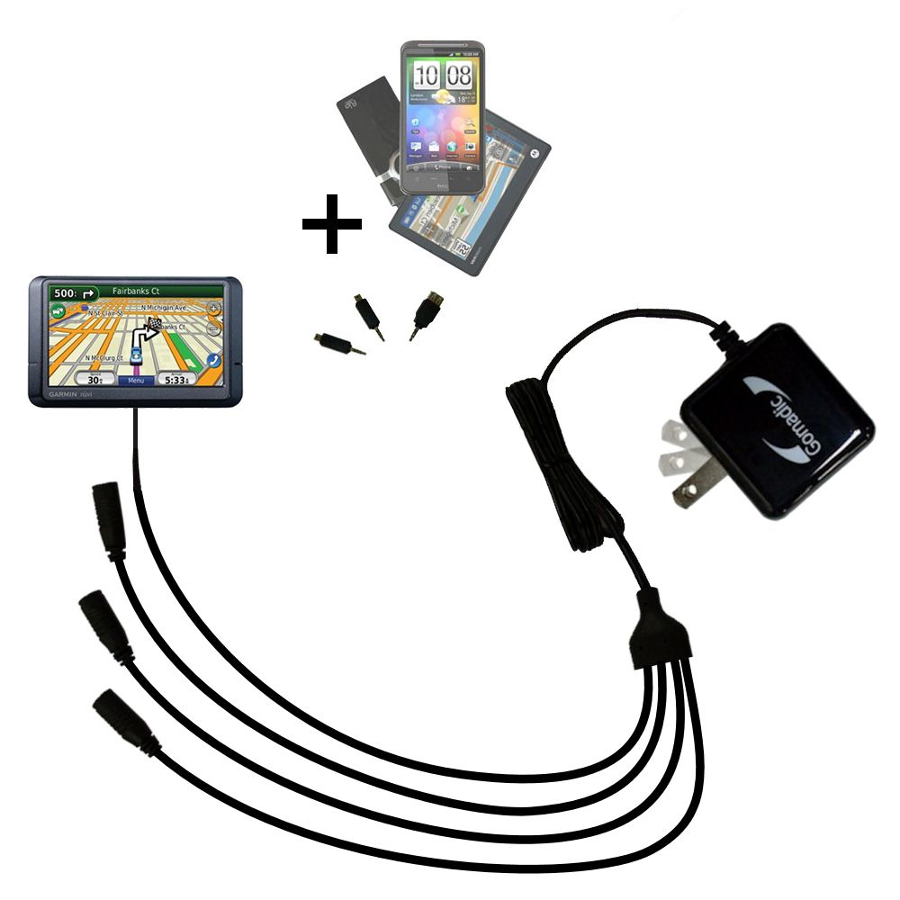 Quad output Wall Charger includes tip for the Garmin Nuvi 780