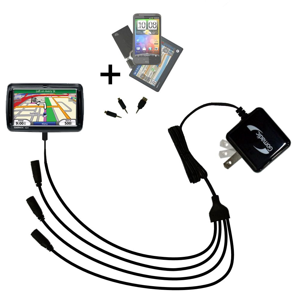Quad output Wall Charger includes tip for the Garmin Nuvi 850
