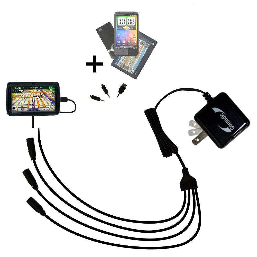 Quad output Wall Charger includes tip for the Garmin Nuvi 855
