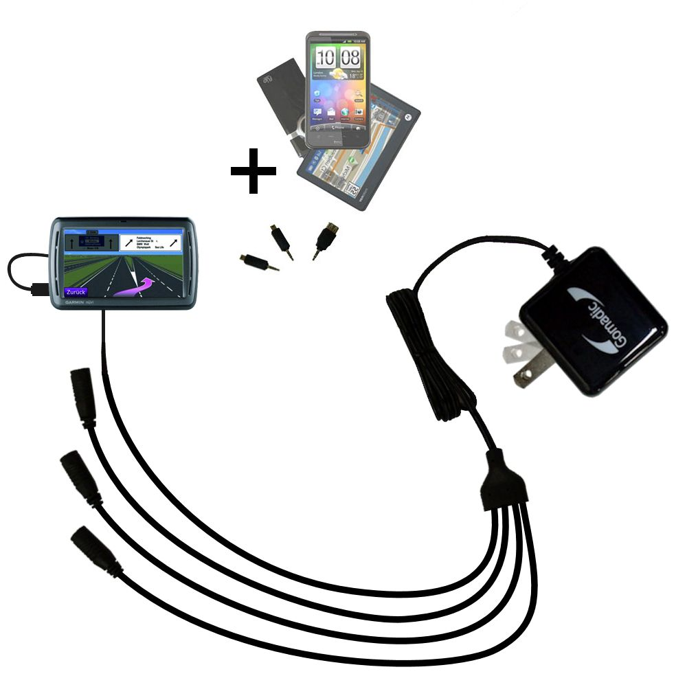Quad output Wall Charger includes tip for the Garmin Nuvi 860 865Tpro