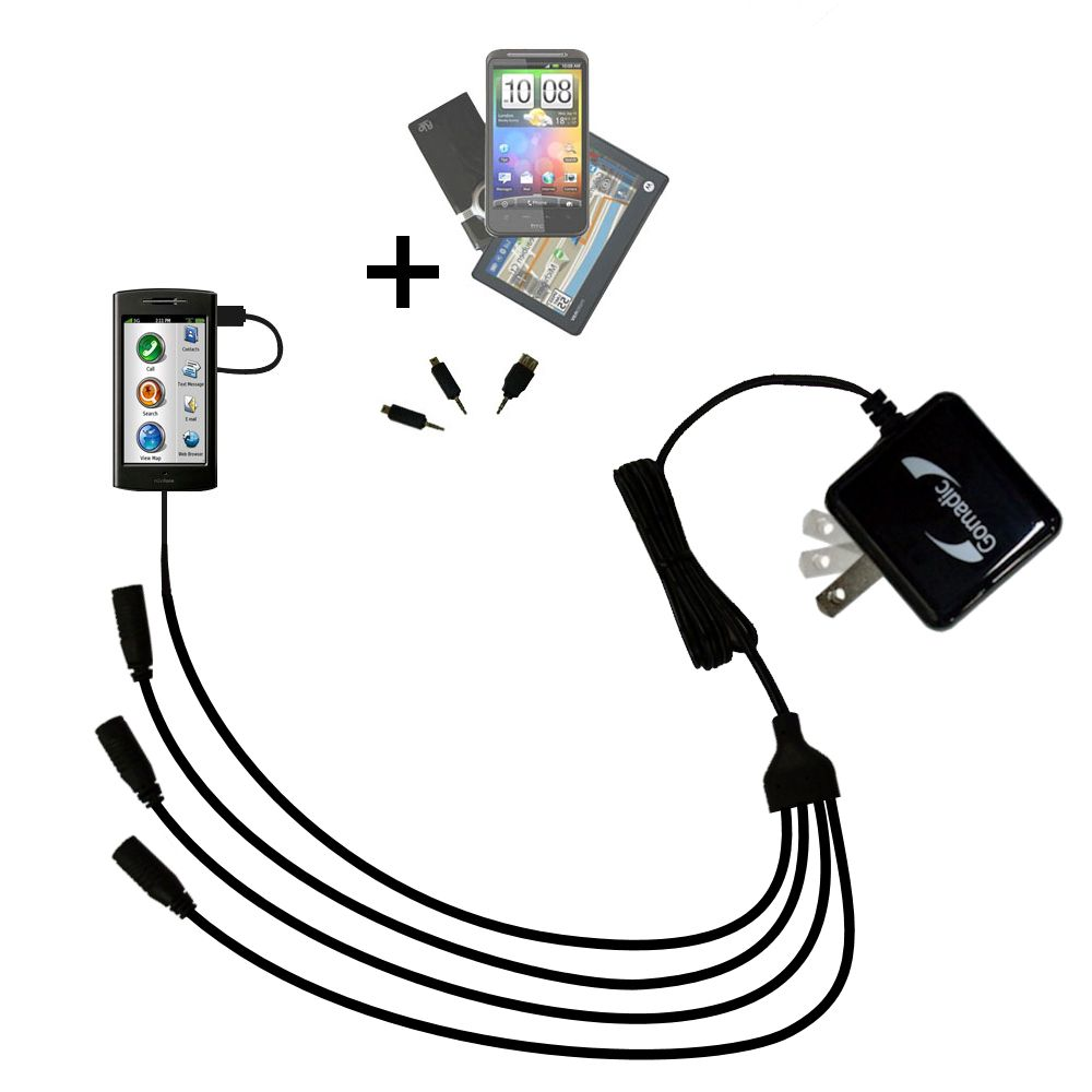 Quad output Wall Charger includes tip for the Garmin Nuvifone G60