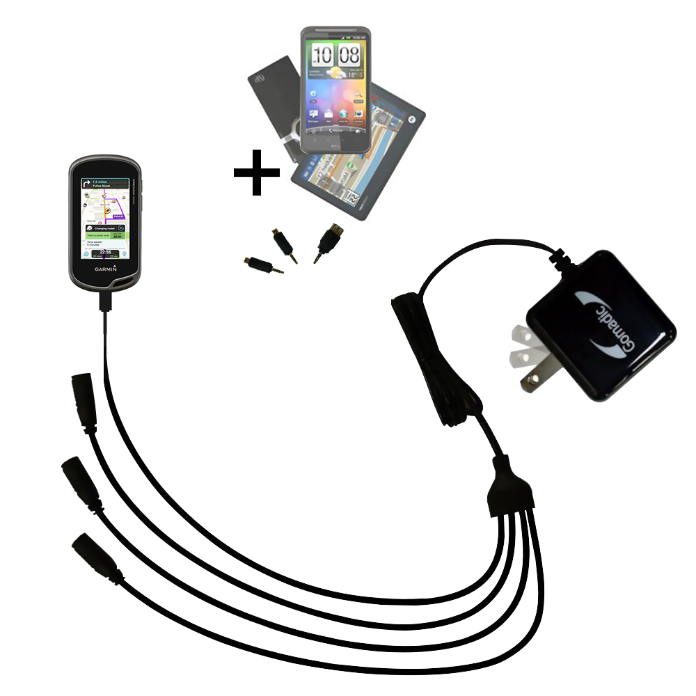 Quad output Wall Charger includes tip for the Garmin Oregon 600 / 650 / 650t