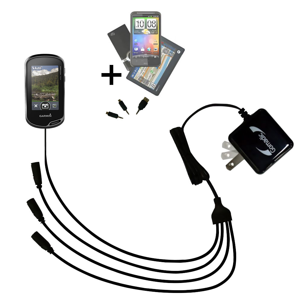 Quad output Wall Charger includes tip for the Garmin Oregon 700